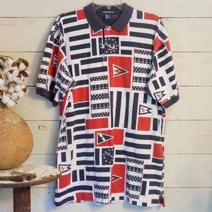 Vintage Nautica Mens Anchor SS Polo Shirt